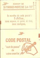 """CARNET 2102-C 7 Sabine """"CODE POSTAL"""" Avec R.E. Fermé. Parfait état Bas Prix TRES RARE. - Carnets"""