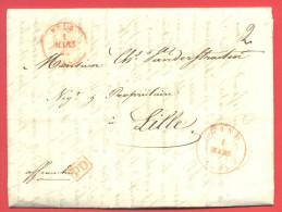 _5i-995: Volledige Brief: Verstuurd Uit GAND 1 MARS 1845 + PD+affranchi + BELG. 1 MARS 45> LILLE 1 MARS 45 (57 - 1830-1849 (Belgique Indépendante)
