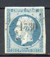 FRANCE - 1853-60 - Second Empire - Napoléon III - N° 14Af - 20 C. Bleu Laiteux (Oblitération : Losange PC) - 1853-1860 Napoleon III