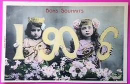 Cpa Bons Souhaits 1906 Bergeret Jeune Fille Fillette Art Nouveau Carte Postale Non Ecrite - Bergeret