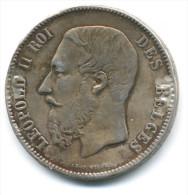 BELGIO 5 FRANCS 1873 LEOPOLDO II  GRANDE MONETA ARGENTO - 1865-1909: Leopoldo II