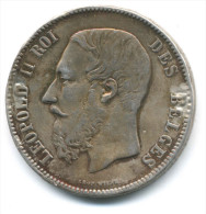 BELGIO 5 FRANCS 1873 LEOPOLDO II  GRANDE MONETA ARGENTO