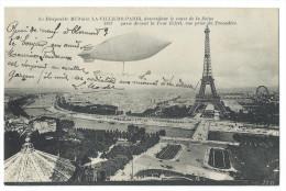 """Le Dirigeable Militaire """"La Ville De Paris"""" Descendant Le Cours De La Seine Et Passant Devant La Tour Eiffel - Dirigibili"""