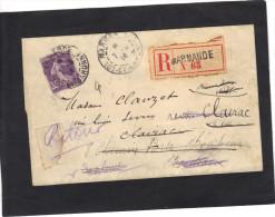 Yvert 142 Semeuse Sur Lettre Recommandée MARMANDE 2,5 X 0,5 Cm 1914 Réexpédition Verso Cachet : Agen Bordeaux Talence - France