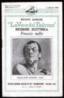 LIBRETTO LA VOCE DEL PADRONE 1927  PRESENTAZIONE NUOVI DISCHI PABLO CASALS LANDON ROLAND ALBERTO COATES SCHALJAPIN - Manifesti & Poster