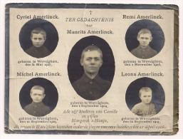 Gedachtenis 5 Kinderen AMERLINCK - Wevelgem - Oorlogsslachtoffer WO 1 - 1918 - Religion & Esotérisme