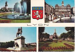 Francia-Lyon--Places-Carnot,Des Terreaux,Bellecour Et Marechal Lyautey--1969--Cachet-Lyon,Gare - Lyon
