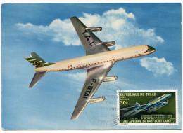 """TCHAD CARTE MAXIMUM DU PA 72 """"AIR AFRIQUE"""" DC 8-63 """"FORT-LAMY"""" OBLITERATION 1er JOUR FORT-LAMY 2 AOUT 70 - Tchad (1960-...)"""