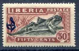 Liberia 1918 Overprinted OS    MH*VF Part  Bommi Fish - Liberia