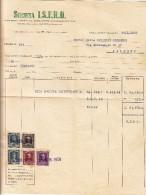 """ISOLA DELLE FEMMINE - 1959  /   Corrispondenza  Commerciale - Fattura  """" SOCIETA´  I.S.E.R.O.  """" - Italia"""