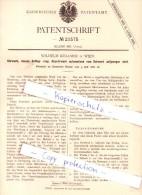 Original Patent - Wilhelm Köllmer In Wien , 1882 , Uhrwerk , Uhren , Uhrmacher  !!! - Historische Dokumente