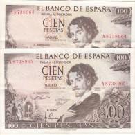 2 BILLETES DE 100 PESETAS DE 1965 CON NUMERACION CONSECUTIVA - CASI SIN CIRCULAR - [ 3] 1936-1975 : Régence De Franco