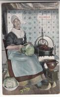 Oude Postkaart Volendam, Huisvrouw Aan De Kachel, Klederdracht (pk15658) - Volendam