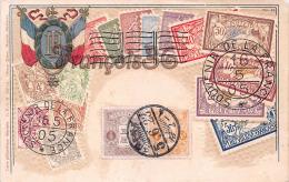Souvenir De La France - Timbres - Illustration Gauffrée - Carte Envoyée En Chine Avec Timbres Japonais - Japan Stamps - Stamps (pictures)
