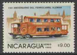 Nicaragua 1985 Mi 2582 Aero ** Double-deck Tram, Germany – 150th Ann. German Railways / Dampftrieb- Wagen - Treinen