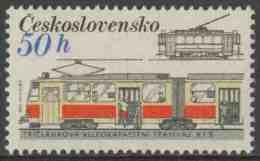 "Tschechoslowakei Czechoslovakia 1986 Mi 2881 ** Type ""Kt8"" Articulated Tram + Prague Tram (1920) / Straßenbahn - Tram"