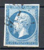 FRANCE - 1853-60 - Second Empire - Napoléon III - N° 14B - 20 C. Bleu (Type II) (Oblitération Losange GROS Chiffres) - 1853-1860 Napoléon III