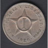 1920-MN-11 CUBA. KM 9.1 COPPER- NICKEL 1c STAR 1920. ESTRELLA RADIANTE. XF - Cuba