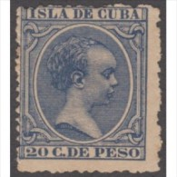 1891-7 CUBA ESPAÑA SPAIN. ALFONSO XIII. 20c AZUL. Ed.129. NUEVO CON GOMA Y CHARNELA. ORIGINAL GUM HIN. - Cuba