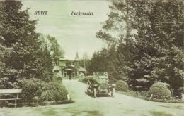 #3824 Hungary, Heviz Postcard Mailed 1921: Part Of The Park, Automobile - Hongrie