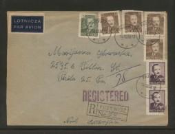 POLAND 1950 REGISTERED AIRMAIL LETTER PRZYWIDZ TO PHILADELPHIA VIA NEW YORK MIXED FRANKING BIERUT DEFINITIVES - Storia Postale