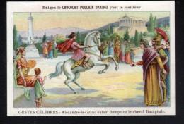 CHROMO,  CHOCOLAT POULAIN ORANGE, GESTES CELEBRES, ALEXANDRE LE GRAND ENFANT DOMPTANT LE CHEVAL BUCEPHALE - Poulain