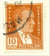 TURKEY  -  1931 To 1954  Kemal Attaturk Definitive  10k  Used As Scan - 1921-... Republic