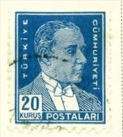 TURKEY  -  1931 To 1954  Kemal Attaturk Definitive  20k  Used As Scan - 1921-... Republic