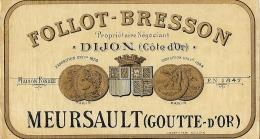 ETIQUETTE  MEURSAULT .  DIJON - Alcools