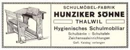 Original Werbung - 1914 - Hunziker Söhne In Thalwil , Schulmöbelfabrik , Schule , Möbel , Tafel !!! - ZH Zürich