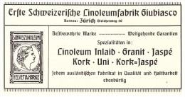 Original Werbung - 1914 - Linoleumfabrik Giubiasco In Zürich , Linoleum , Helvetia-Marke , Kork , Granit !!! - Publicités