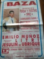 TOROS - Cartel Antiguo Plaza Corrida De Toros En BAZA 1992 - Mide 65 X 45 Cm - Afiches