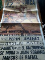 TOROS - Cartel Antiguo Plaza Corrida De Toros En LORCA 1993 - Mide 106 X 54 Cm - Afiches