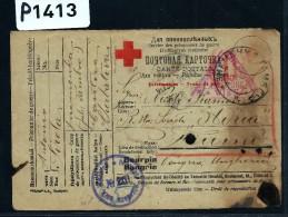 HONGRIE  - CARTE CROIX ROUGE D UN PRISONNIER DE GUERRE 1917  + CENSURE DE VIENNE    A ETUDIER - Marcophilie