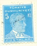 TURKEY  -  1931 To 1954  Kemal Attaturk Definitive  5k  Used As Scan - 1921-... Republic