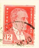 TURKEY  -  1931 To 1954  Kemal Attaturk Definitive  12k  Used As Scan - 1921-... Republic