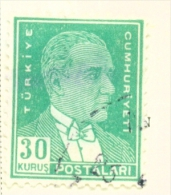 TURKEY  -  1931 To 1954  Kemal Attaturk Definitive  30k  Used As Scan - 1921-... Republic