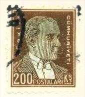 TURKEY  -  1931 To 1954  Kemal Attaturk Definitive  200k  Used As Scan - 1921-... Republic