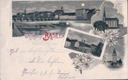 Gruss Aus Basel, Clair De Lune, Litho 1899 (3824) - BS Bâle-Ville