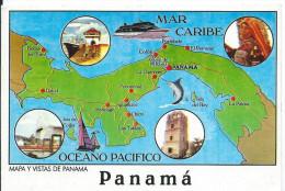 PANAMA Carte Géographique Du Pays Entre Mer Caraïbes Et Océan Pacifique (circulé Timbre Philat. Cf Détails 2scan) MEA165 - Panama