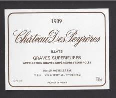 Etiquette De Vin   -  Chateau Des Peyrères  -   Graves Supérieures   - 1989 - Bordeaux