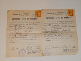 P61 - 2 ESTRATTO ATTO DI NASCITA With Stamps - 1952 GRAVERE ITALIA - Seals Of Generality