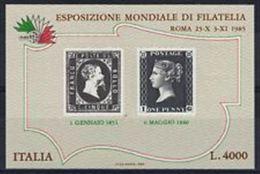 REPUBBLICA ITALIANA 1985 - ESPOSIZIONE MONDIALE FILATELIA - 6. 1946-.. Republic