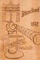 AK MATERIALKARTEN PILSNER URQUELL 1842 PLZEN CZECH REPUBLIK  POSTCARD Aus Holz ALTE POSTKARTE 1987 - Cartes Postales