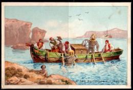 Image Didactique : La Pêche Aux éponges En Grèce Avec Plongeurs Scaphandriers. Explication Au Verso. - Chromos