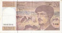 BILLETE DE FRANCIA DE 20 FRANCS DEL AÑO 1997  (BANKNOTE) CLAUDE DEBUSSY - 20 F 1980-1997 ''Debussy''