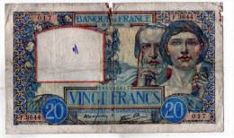 - BILLET De 20 FR Science Et Travail  3/4/1941 - état Moyen - 542 - 1871-1952 Anciens Francs Circulés Au XXème