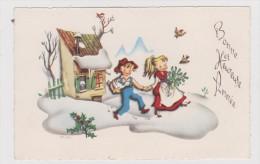 Carte  Bonne Et Heureuse Année  Enfants , Canard - Anno Nuovo
