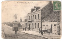 Masnières (Marcoing-Rumilly-en-Cambresis-Cambrai-Nord)-1925-Route Nationale-animée-petit Camion-engin Agricole-Etat!! - Marcoing