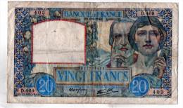 - BILLET De 20 FR Science Et Travail  6/6/1940 - état Plié  - 544 - 1871-1952 Circulated During XXth